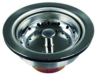 JR Products Sink Strainer; Fits Any 3-1/2 Inch To 4 Inch Sink Opening ; Stainless Steel; With Rubber Washer/ Locknut/ Push-In Basket
