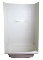 Lippert Shower Surround 1 Piece 24 Inch Length x 36 Inch Width x 59 Inch Height Parchment ABS Plastic