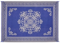 Medallion Navy Patio Mat 8X11