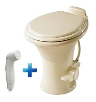 Dometic 310 Standard Height RV Toilet w/ Hand Spray, Bone