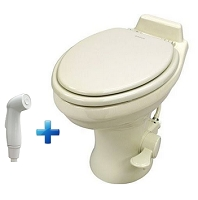 Dometic 320 Standard Height Ceramic RV Toilet w/Hand Spray, Bone