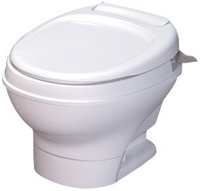 Thetford Rv Toilet Aqua Magic V Low Profile Hand Flush Without Water Saver, White, 31646