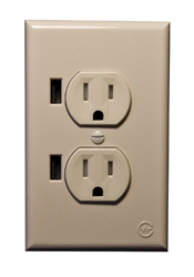 Rv Electrical Outlet >> Almond Duo USB RV Standard Wall Outlet