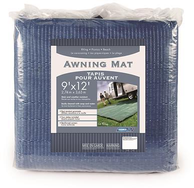 Camping Mat 9 Foot X 12 Foot Blue Woven Poly Vinyl Non