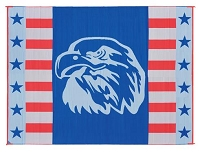 Camping Mat; 9 Foot x 12 Foot; American Eagle; Polypropylene; Reversible; With Corner Loops; With Storage Bag
