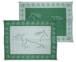 Camper Patio Mat, Reversible Horse, 9ft x 12ft Green