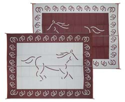 RV Patio Mat, Reversible Horse, 9ft x 12ft, Burgundy