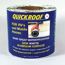 RV White Waterproof Roof Repair 6 inch x 25 ft Roll