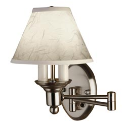 Wall Lamps Parts : Satin Nickel Shaded Swing Arm Wall Lamp
