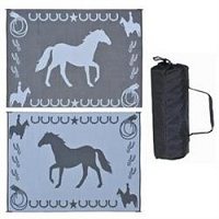 Ming's Mark Lucky Horse Mat In Black 9'x12'