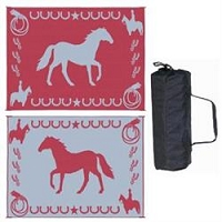 Ming's Mark Lucky Horse Mat In Burgundy 9'x12'
