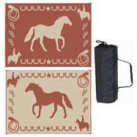 Ming's Mark Lucky Horse Mat In Brown 9'x12'