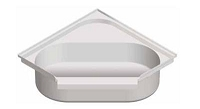 Bathtub; Neo Angle; 34 Inch x 34 Inch Hex; 10 Inch Apron Size; Without Threshold; Without Seat; Smooth Floor Surface; Front Center Drain; White; Acrylic