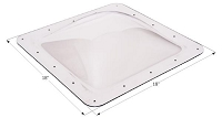 Skylight; 4 Inch High Bubble Type Dome; Square; 14 Inch Length x 14 Inch Width; 18 Inch Length x 18 Inch Width Flange; Clear;