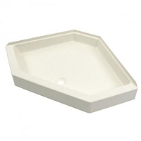 Shower Pan; Better Bath; Neo-Angle; 34 Inch x 34 Inch; With 5 Inch Threshold; Center Drain; Parchment; ABS