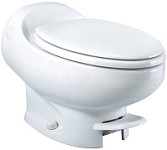 Thetford RV Toilet Aria Classic Low Profile Foot Flush Without Water Saver, White, 19818
