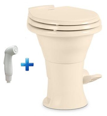 Dometic 310 China RV Toilet 302310113 Bone With Hand Spray