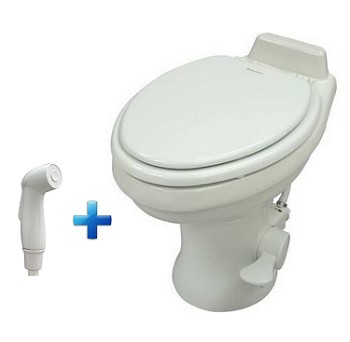 Dometic 320 Standard Height Ceramic RV Toilet w/Hand Spray, White