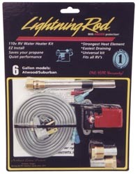 Lightning Rod-Gas RV Water Heater Kit-6 Gallon-110V