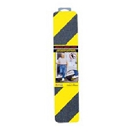 Anti-Slip Safety Grit StripYellow\Black 3 inch x 16 inch
