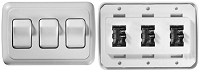 Contoured Wall Switch, On/Off, 3 Switches, White