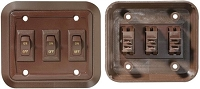 Brown Wall Switch, 3 Switches