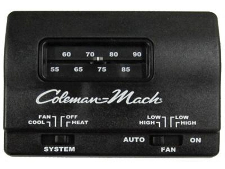 coleman 12v heat cool black    thermostat    rvpartscountry  coleman 12v heat cool black    thermostat    rvpartscountry