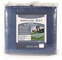 Camping Mat; 9 Foot x 12 Foot; Blue; Woven Poly-Vinyl; Non-Reversible Fabric; With Rust Resistant Grommets; Without Storage Bag; With Stakes