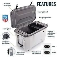 Currituck 30 Quart Portable Cooler, White/Grey
