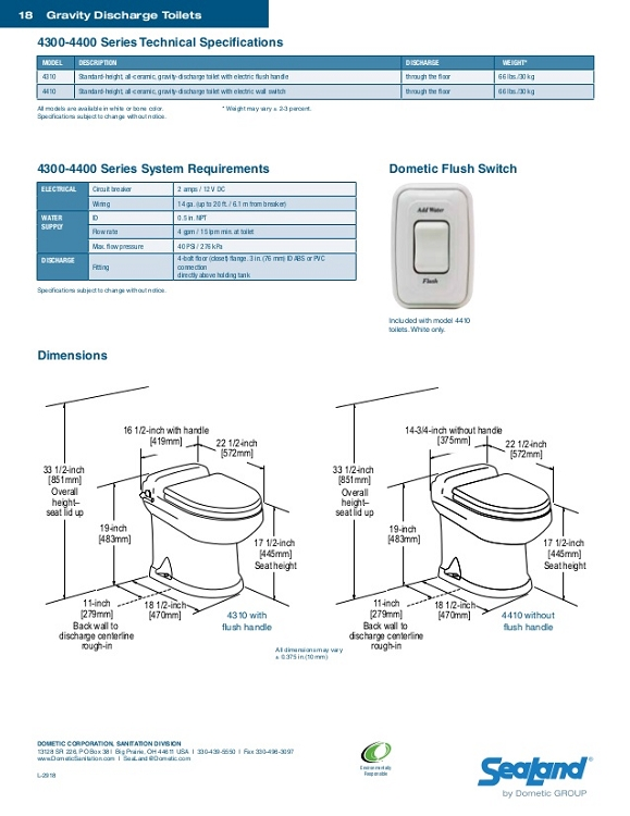 Dometic 4410 Gravity-Discharge With Electric Wall Switch RV Toilet Bone