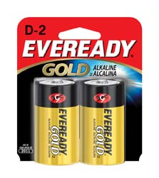 Alkaline Batteries, D, 2/card