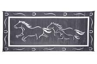 Camping Mat; 8 Foot x 18 Foot; Horses Design; Black/ White; Polypropylene; Reversible; With Corner Loops; With Storage Bag