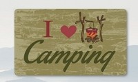 Kittrich Door Mat STRB1486106  I Love Camping Design