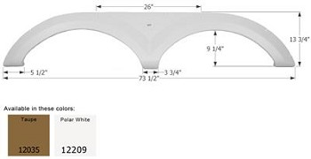 Icon Polar White 73-1/2 Inch Length x 13-3/4 Inch Height Fender Skirt