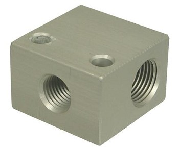 MB Sturgis Fuel Distribution Block -  3/8 Inch Inlet x One 1/4 Inch Side Outlet x 3/8 Inch End Outlet