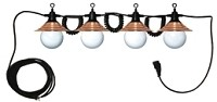 Party Lights; White Globe With Weathered Bronze/ Copper Shade; Coiled Cable; 4 Lights; For Outdoor Use