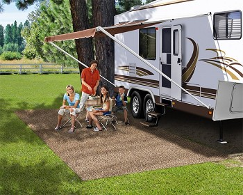 Rv Patio Rug, Brown, 6 ft x 15 ft