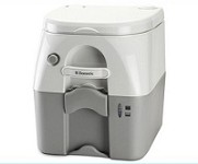 975 Dometic Porta Potti 5 Gallon Gray Toilet W/ Stainless Hold Downs