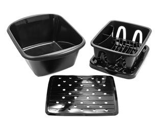 Black Dish Drainer With Tray And Sink Mat