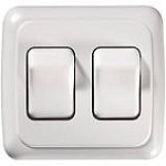 Contoured White On/Off Wall Switch, Two Switches
