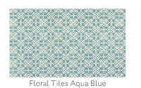 Ruggable Floral Tiles Aqua Blue 3 Foot x 5 Foot