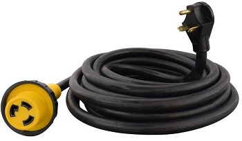 Power Cord, Mighty Cord (TM), Power Supply Cord, Detachable Cord, 30 Amp, 25 Foot Length, Black, Without Plug Head Handle