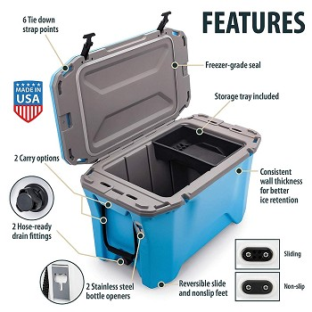 Currituck Portable Cooler, 30 Quarts, Cyan