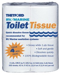 Camper Toilet Paper- Thetford 1-ply-White - Mfr #20804