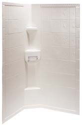 "Rv Shower Surround Hex 34"" x 34"" x 65"" Tile White"